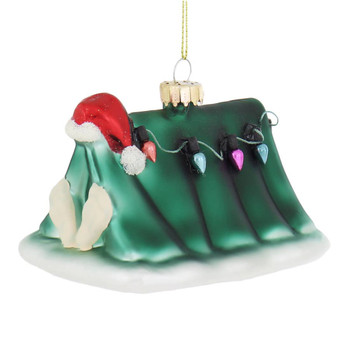 Santa's Camping Tent Glass Ornament left side front