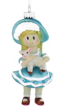 Mary Had A Little Lamb Rhme Glass Ornament