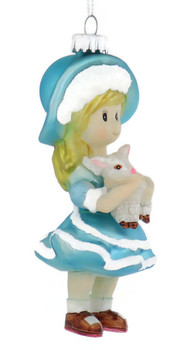 Mary Had A Little Lamb Rhme Glass Ornament right side