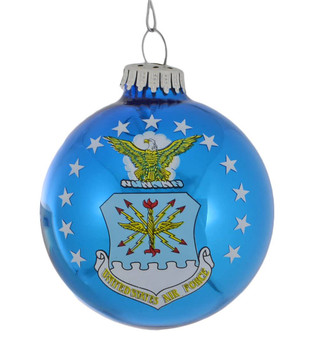 Fly-Fight-Win Air Force Flag Glass Ornament front