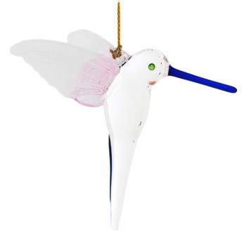 """White and Pink Wings Hummingbird Mouth-blown Egyptian Glass Ornament , 2 5/8"""", EM13547"""