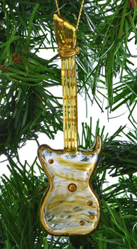 Transparent Mouth-blown Egyptian Glass Electric Guitar Ornament on garland