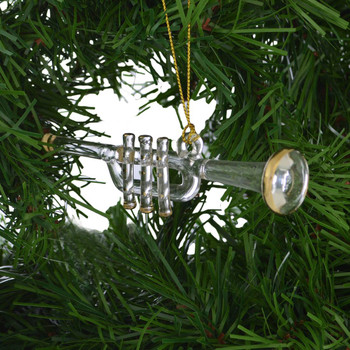 Clear Mouth-blown Egyptian Glass Trumpet Ornament on garland