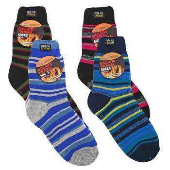 Boys Insulated Polar Thermal Thick Slipper Crew Socks - Striped