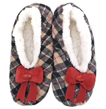 Ladies Non-Slip Faux-Fur Lined Christmas Slippers - Red Bow