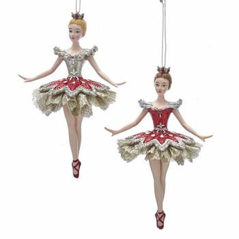 "Ruby Red and Platinum Ballerina Ornament, 5 3/4"", KAE0340"