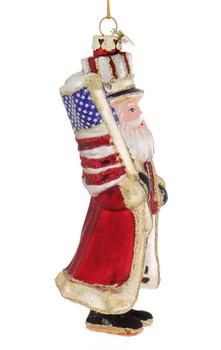 Glitzy Patriotic USA Santa Glass Ornament right side