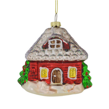 Red Log Farm House with Water Wheel Glass Ornament