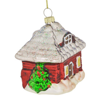Red Log Farm House with Water Wheel Glass Ornament right side