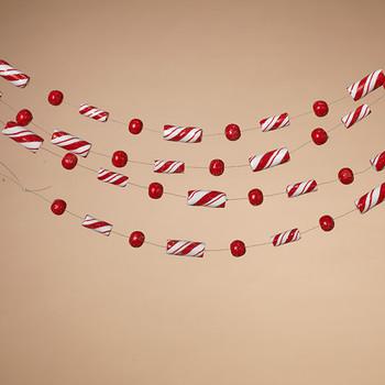 "Imitation Peppermint Candy Stick Garland, 58"", ST2507440"