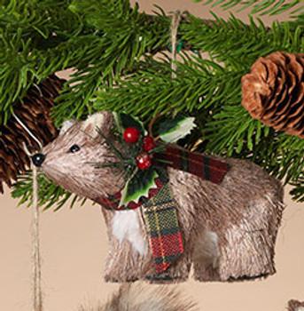 "Plaid Scarf Bristle Animal Bear Ornament, 3 5/8 x 5 1/2"", ST2491630"