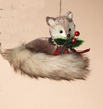 "Plaid Scarf Bristle Animal Fox Ornament, 5"", ST2491630"