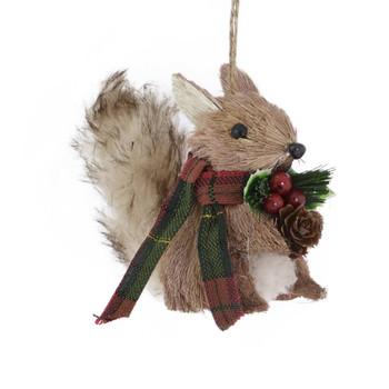 Plaid Scarf Bristle Animal Squirrel Ornament