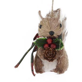 Plaid Scarf Bristle Animal Squirrel Ornament front