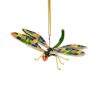 Cloisonne Articulated Dragonfly Ornament  top front