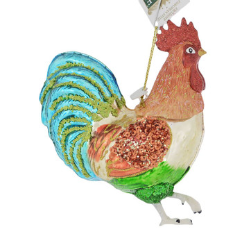 Colorful Sparkly Rooster Glass Mix Ornament