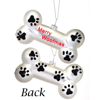 "Merry Woofmas Dog Bone Glass Ornament, 2 3/8 x 4 1/4"", RGMTX62497"