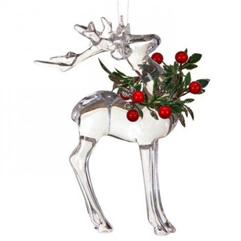 """Large Clear Reindeer with Berries Ornament - Decor, 7"""", RGMTX61697"""