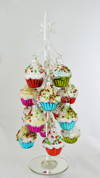"""Cupcake Ornaments on Clear Table Top Glass Tree Decor, 11 3/4"""", RGMTX61862"""