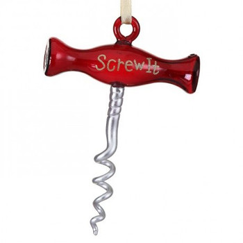 "Screw It Corkscrew Glass Ornament, 5 5/8"", RGMTX62681"