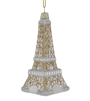 Pearly France Eiffel Tower Glass Ornament front side