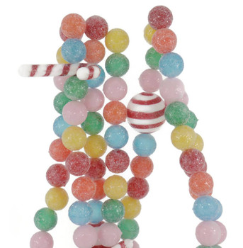 Frosted Sour Fruit Candy Balls Garland close up
