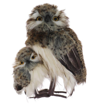 Large Speckled Furry Hoot Owl and Baby Owl Figurine