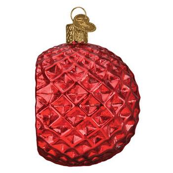 Faceted Crimson Reflection Glass Ornament left side