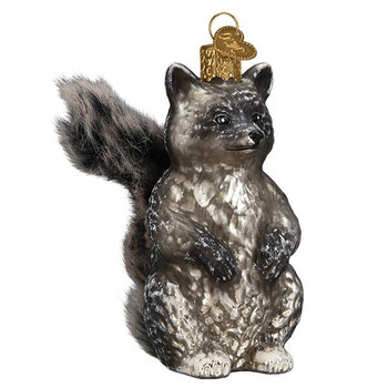 Vintage Raccoon Furry Tail Glass Ornament