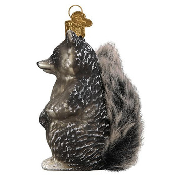 Vintage Raccoon Furry Tail Glass Ornament left side