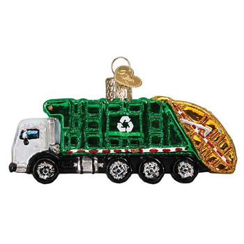 Garbage Truck Glass Ornament
