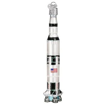 Saturn V Rocket Glass Ornament