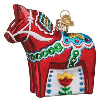 Swedish Dala Horse Glass Ornament