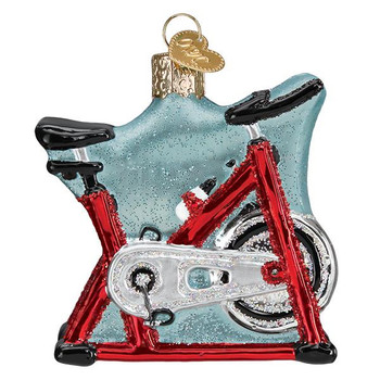 Spin Cycle Exercise Bike Glass Ornament