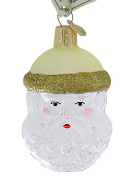 Clear Crystal Santa Glass Ornament