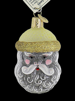 Clear Crystal Santa Glass Ornament front