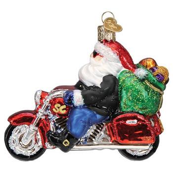 Biker Motorcycle Santa Glass Ornament