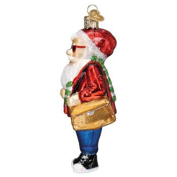 Hipster Santa Glass Ornament left side