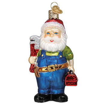 Handyman Santa Glass Ornament