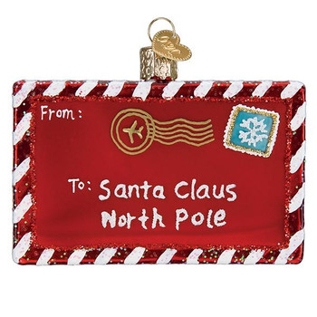 Letter to Santa Glass Ornament