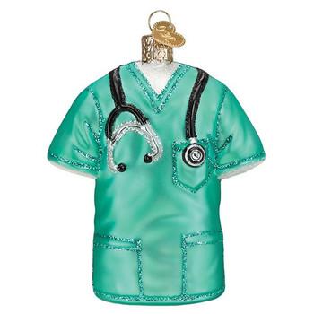 Green Medical Scrubs Glass Ornament