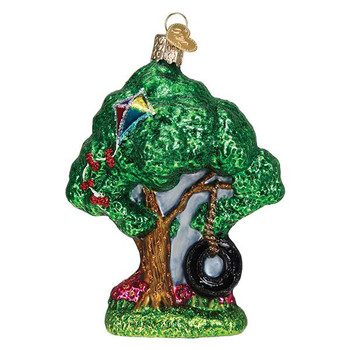 Childhood Play Tire Swing Glass Ornament