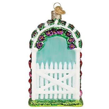 Garden Trellis Glass Ornament back