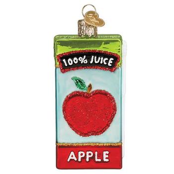 Apple Fruit Juice Box Glass Ornament front