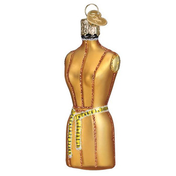 Sewing Dress Form Glass Ornament