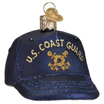 Coast Guard Cap Glass Ornament