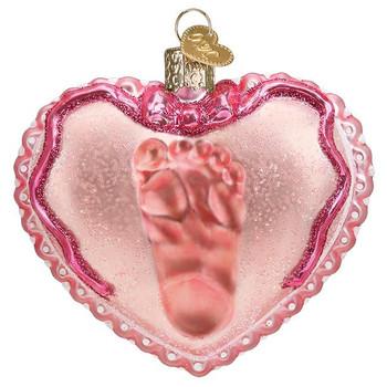 Baby Girl's Footprint Glass Ornament