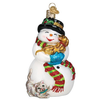 Snowman with Playful Pets Glass Ornament