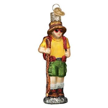 Hiker Glass Ornament