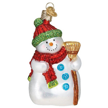 New Snowman with Broom Glass Ornament